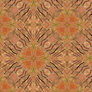 Fractal Kaleidoscope in Tan and Black