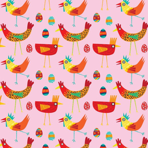 Big colorful chickens on pink bsckgrouns