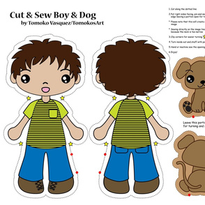 boy and dog cut and sew