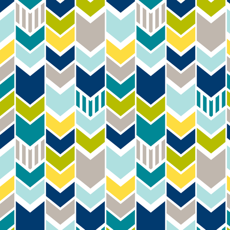 Custom Green Blue Chevron small scale fabric by mrshervi on Spoonflower - custom fabric
