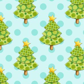 Aqua polka dot Christmas