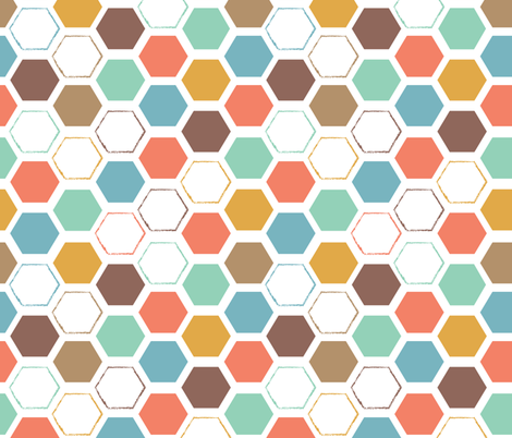 Colorful Beehive  fabric by happychinchilla on Spoonflower - custom fabric