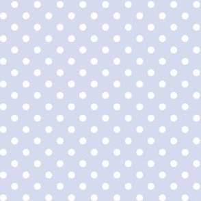 White and Pale Periwinkle Blue Polka Dots