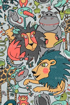 animal gender neutral nursery wallpaper, large scale, gray grey