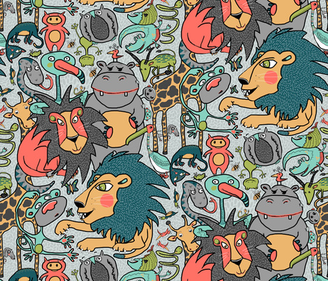 animal gender neutral nursery wallpaper, large scale, gray grey fabric by amy_g on Spoonflower - custom fabric