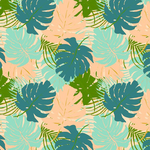 Monstera -  peach, blue, green