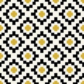 Mustard, black + off-white geometric West by Southwest by Su_G