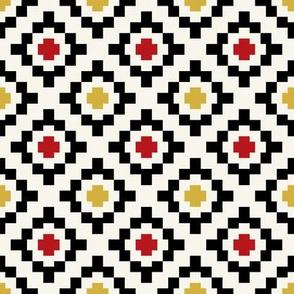 Mustard, poppy, black + off-white geometric West by Southwest by Su_G