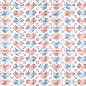 Hand Drawn Embroidery Love Heart Stitches Seamless Vector Pattern