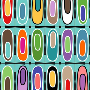Colorful Funky Oval Geometric Mid Century Modern Design