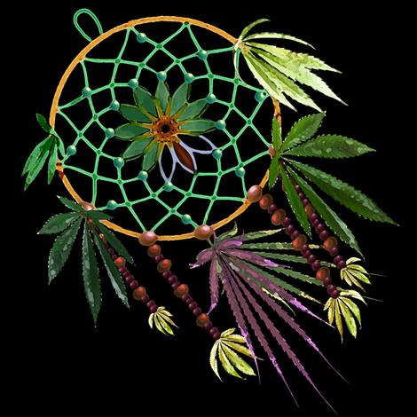 Cannabis Dream Catcher 8x8 fabric by camomoto on Spoonflower - custom fabric