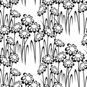 Black and White Flower Patch - Modern Floral Print