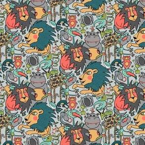 animal gender neutral nursery wallpaper, small scale, gray grey