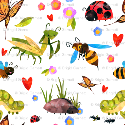 Colorful Bugs On White