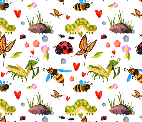 Colorful Bugs On White fabric by bags29 on Spoonflower - custom fabric