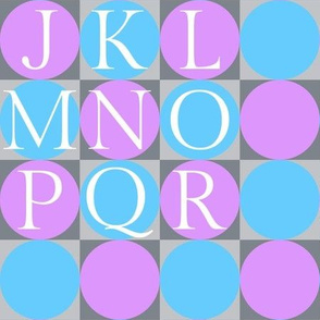 alphabet blocks - orchid and turquoise