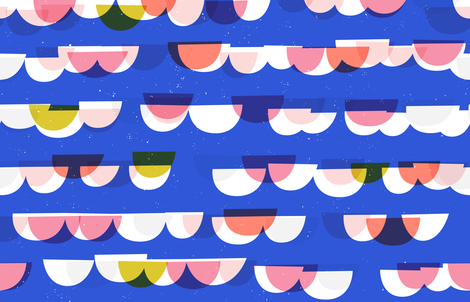 Waves and Boats M+M Cobalt by Friztin fabric by friztin on Spoonflower - custom fabric