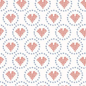 Hand Drawn Embroidery Love Heart Stitches Seamless Vector Pattern. Cross Stitch