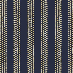 Dots and stripes in tan and dark blue