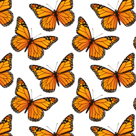 Monarch Butterflies Tossed on White fabric by fabric_is_my_name on Spoonflower - custom fabric