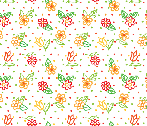 Daisies Tulips Orange Red on White fabric by fabric_is_my_name on Spoonflower - custom fabric