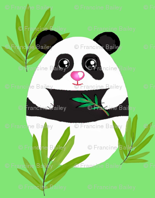 Meditation  Panda-Bamboo on Green