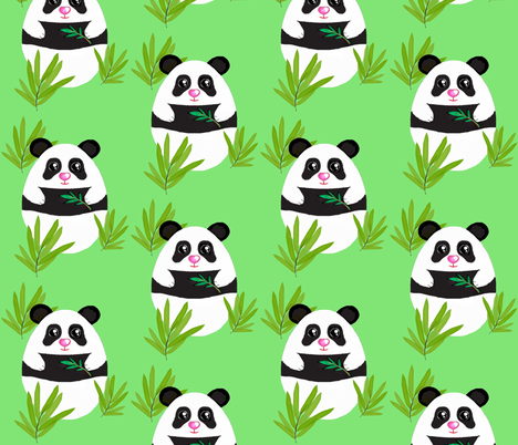 Meditation  Panda-Bamboo on Green   fabric by franbail on Spoonflower - custom fabric