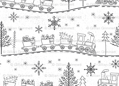 Christmas Trains with Gifts in White