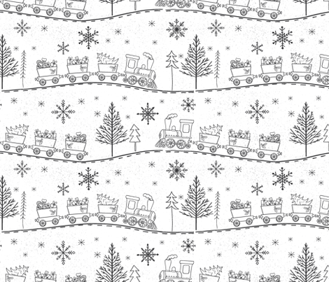 Christmas Trains with Gifts in White fabric by red_raspberry_design on Spoonflower - custom fabric