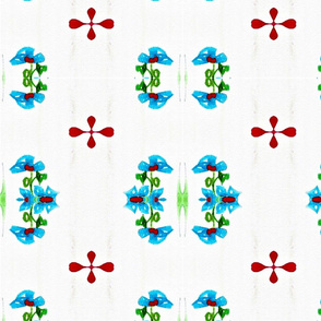 Blue Flower and Red Blob Cross