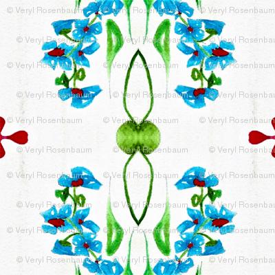 Blue Flower Around Green Vines  01