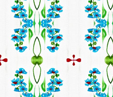 Blue Flower Around Green Vines  01 fabric by memorejoy on Spoonflower - custom fabric