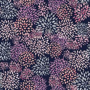Watercolor Flowers Navy