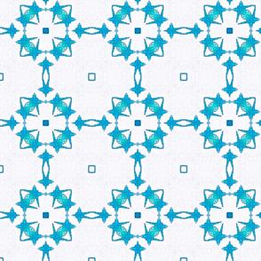 Sky Blue Square Flower  Pattern  01-ed