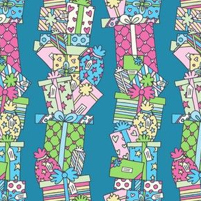 Stacked Pressies in Teal, Green & Pink