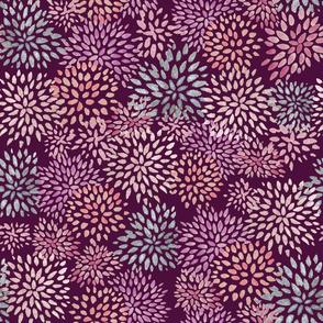 Watercolor Blooms Maroon
