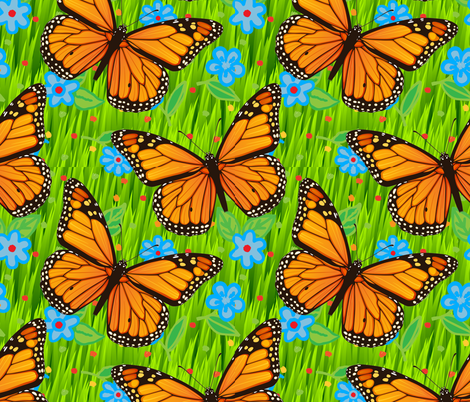 Monarch Butterflies Green Grass Blue Flowers fabric by fabric_is_my_name on Spoonflower - custom fabric