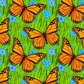 Monarch Butterflies Green Grass Blue Flowers