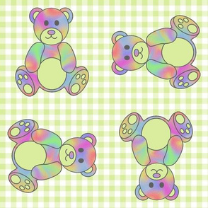 Rainbow Teddy Bear on lime green gingham