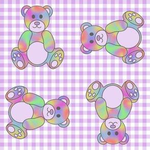 Rainbow Teddy Bear on Purple gingham