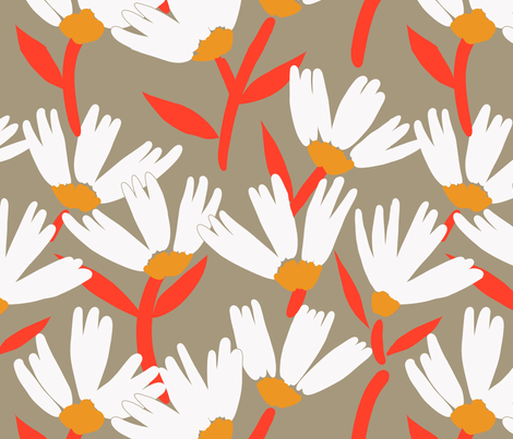 Daisy Days red on olive fabric by robynhammonddesign on Spoonflower - custom fabric