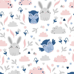 Bunny and Owl - Best Friends - grey pink