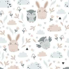 Bunny and Owl - Best Friends - beige grey