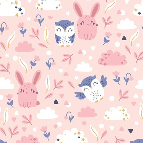 Bunny and Owl - Best Friends - pink blue