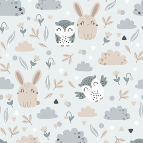 Bunny and Owl - Best Friends - grey beige - BIG