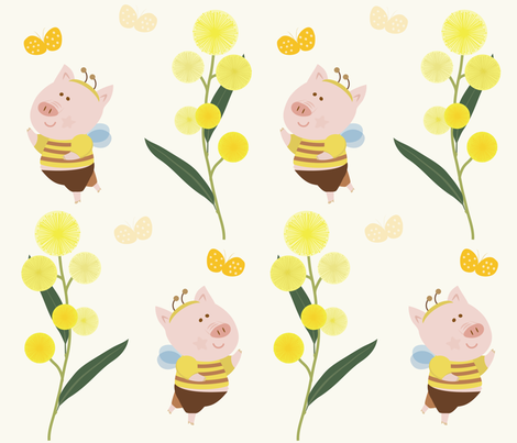 little bee fabric by iying on Spoonflower - custom fabric