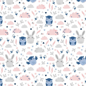 Bunny and Owl - Best Friends - grey pink  - SMALL