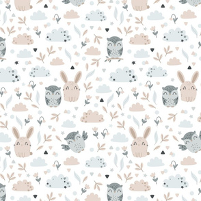 Bunny and Owl - Best Friends - beige grey - SMALL