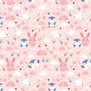 Bunny and Owl - Best Friends - pink blue - SMALL