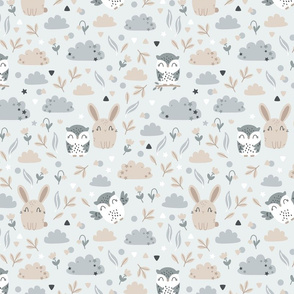 Bunny and Owl - Best Friends - grey beige - SMALL